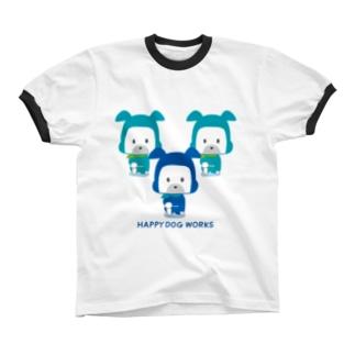 HAPPY DOG WORKS 忍者_御意 リンガーTシャツ