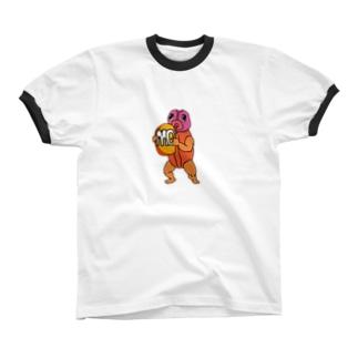 珍獣珍Tシャツ 本部 経理部 まーつ リンガーTシャツ