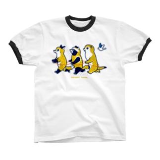 でんしゃ Ringer T-shirts