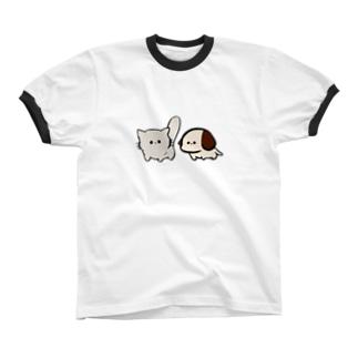 わんにゃん Ringer T-shirts