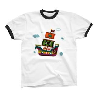 飛行船の旅 リンガーTシャツ