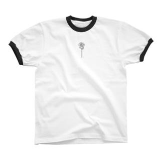 バラ Ringer T-shirts
