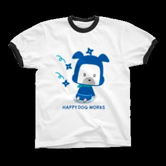 HAPPYDOG製作所@SUZURI支店のHAPPY DOG WORKS 忍者_およよ リンガーTシャツ