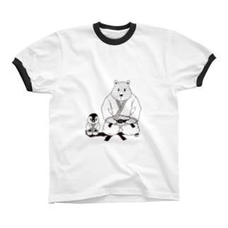 白黒道場-柔道(絵柄小) リンガーTシャツ