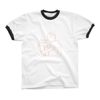猫にキスボーイ Ringer T-shirts