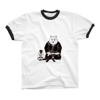 白黒道場-柔術(絵柄小) リンガーTシャツ