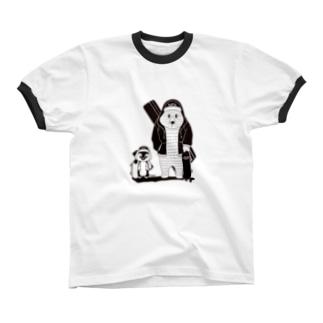 白黒道場-バンド正面(絵柄小) Ringer T-shirts