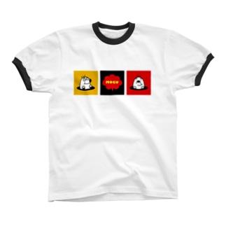 モグラくんとお友達(ブラック) Ringer T-shirts
