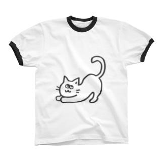 のびのびねこ リンガーTシャツ
