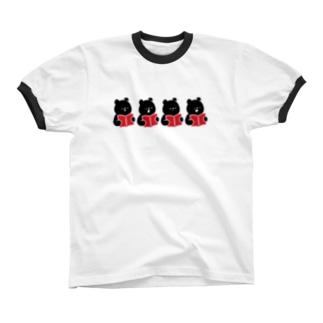 クロクマコ〜ラス Ringer T-shirts