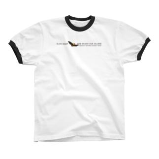 しまのなかまSLOW ヤエヤマオオコウモリ Ringer T-shirts