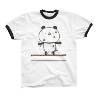 かわいいぱんださん綱渡り リンガーTシャツ