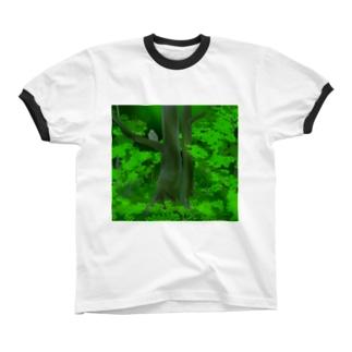 シマフクロウの森 リンガーTシャツ
