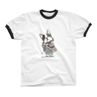 French bulldog リンガーTシャツ