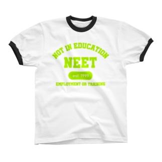 NEET(ライムグリーン) Ringer T-shirts