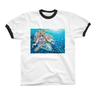 メッセージボトルと人魚 リンガーTシャツ