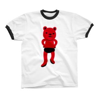 潔い姿の熊(赤) リンガーTシャツ