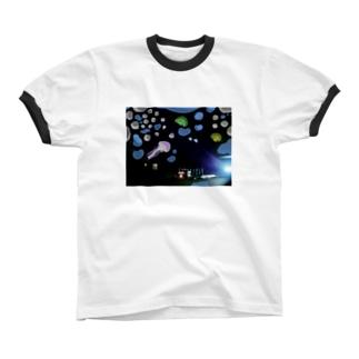 深海夜のコーヒー店 Ringer T-shirts