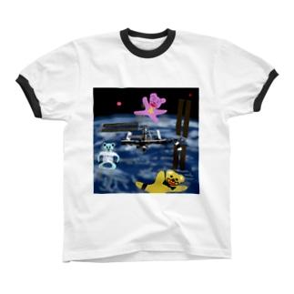 宇宙を旅するくまさん「国際宇宙ステーション」 Ringer T-shirts