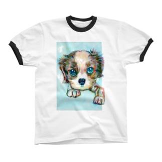 わんちゃん1 リンガーTシャツ