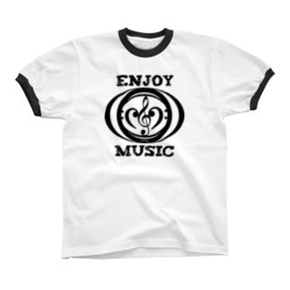 enjoy music リンガーTシャツ