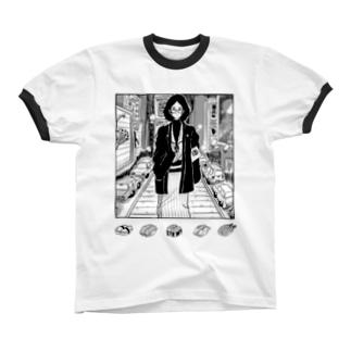 ニューヨークで寿司が食べたい人 Ringer T-shirts