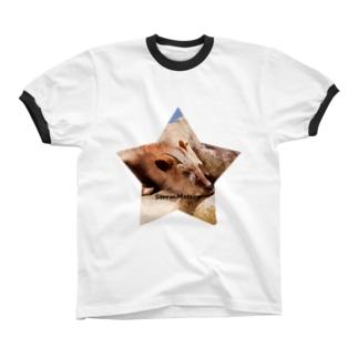 星とおやすみ動物 Ringer T-shirts