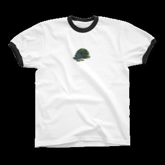 SCHINAKO'Sのチモシーに埋もれるうさぎさん ブラック Ringer T-shirts