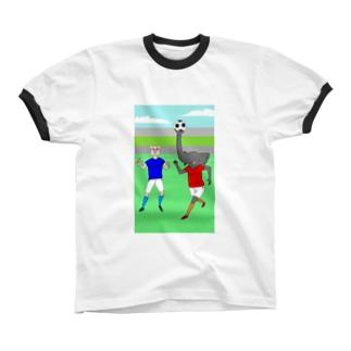 ボールを運ぶゾウ リンガーTシャツ