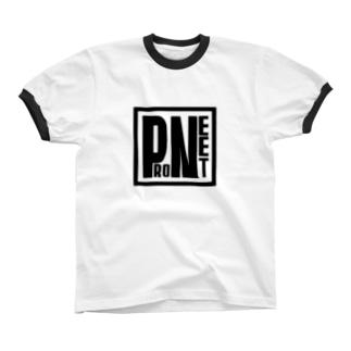 PRONEETスクエアロゴ黒 リンガーTシャツ