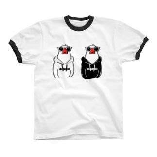 フーディ文鳥双子 リンガーTシャツ