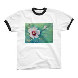ムクゲ:透明水彩でお花の絵 リンガーTシャツ