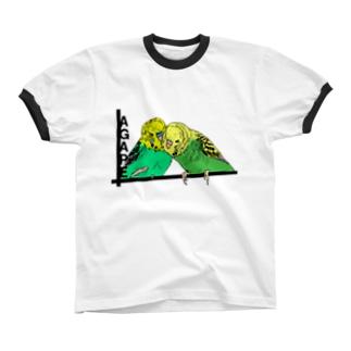アガペーインコ・ふたり リンガーTシャツ