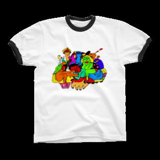 むきむき   地球生活のホームパーティー Ringer T-shirts