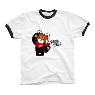 YSパンダ・今日も元気 Ringer T-shirts