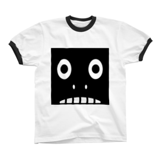【 黒鬼: Black demon 】鼻ありドアップ リンガーTシャツ