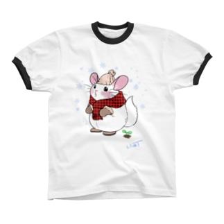 チンチラwinter Ringer T-shirts