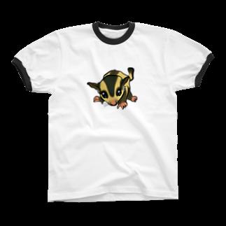お絵描き看護師のフクロモモンガのイラストグッズ Ringer T-shirts