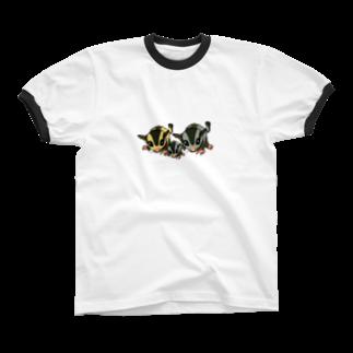 お絵描き看護師のフクロモモンガのイラストのグッズ Ringer T-shirts