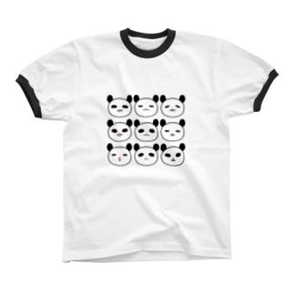 表情パンダ Ringer T-shirts