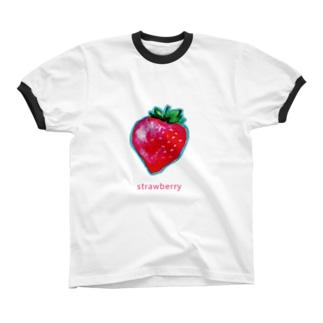 いちごグッズ Ringer T-shirts