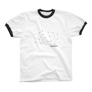 つなげるー点と点ー Ringer T-shirts