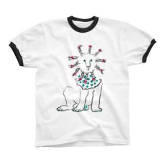 Braided lion Ringer T-shirts