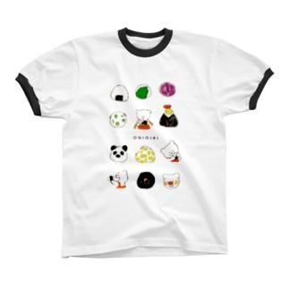 おにぎり Ringer T-shirts