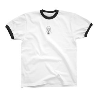 まだ眠いちゃん (文字無し) Ringer T-shirts