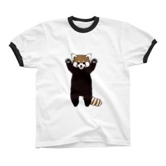 レッサーパンダ威嚇 Ringer T-shirts