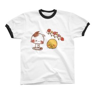 ほのぼのねこさんとぴよみさん Ringer T-shirts