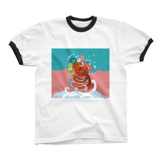 跳ね金魚(背景カラー) Ringer T-shirts