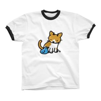 とりとねこ Ringer T-shirts