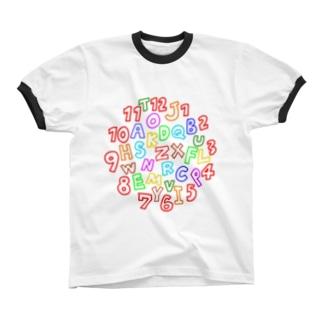 カラフルな数字とアルファベット Ringer T-shirts